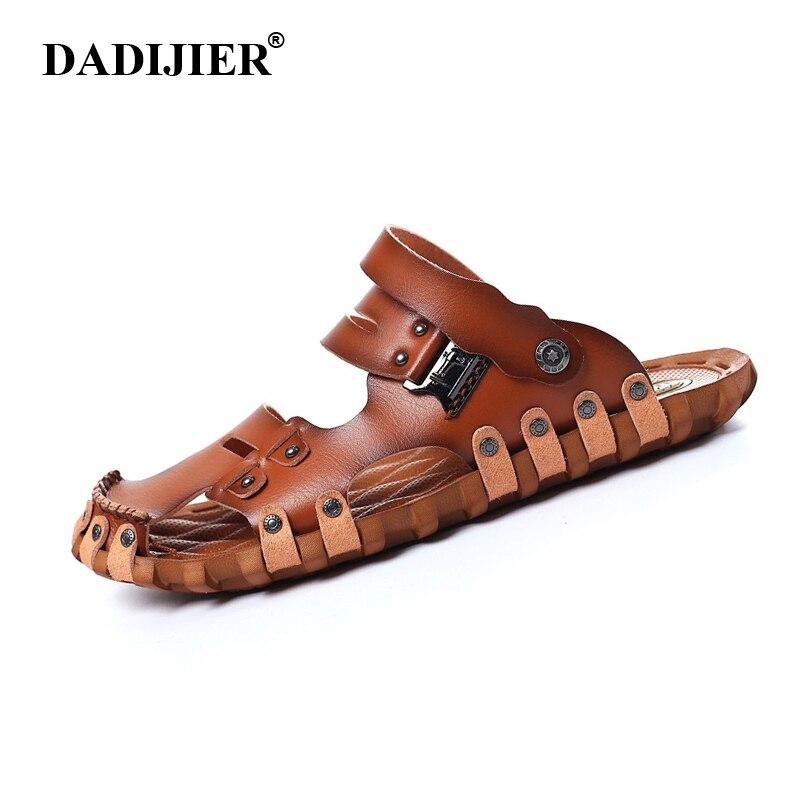 DADIJIER 2018 estilo de moda de hombre sandalias casuales de tacón plano Spilit de hombre de cuero Retro zapatillas de playa de los hombres de verano romano zapatos ST96