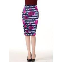 3931db597a Western fashion Red flowers striped print women pencil skirts M-XXL fashion  ladies bodycon saias