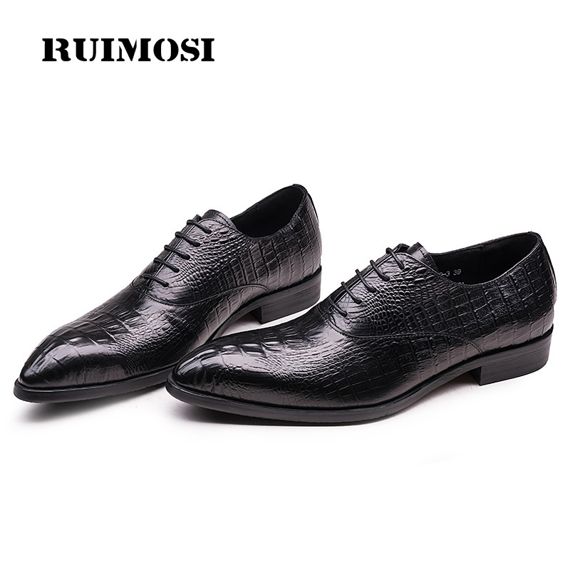 RUIMOSI Fashion Crocodile Brand Man Shoes Genuine Leather Luxury Oxfords Pointed Toe Laced Men's Handmade Bridal Male Flats EH66