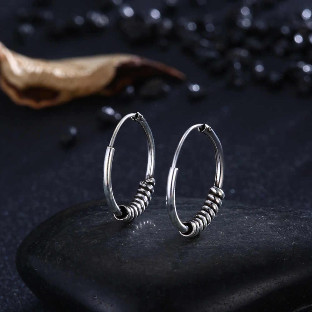 GOMAYA 925 Sterling Silver Vintage รอบ Hoop ต่างหูสำหรับของขวัญผู้หญิงโบราณ Fine เครื่องประดับ Retro สีอุปกรณ์เสริม