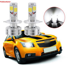 2*120W H4 Voiture Moto Phare/Code 4 COB LED (Hi/Lo) Antibrouillard 12000LM Ampoule Fog Headlight Kit Lampe DC 9-24V Blanc 6500K(China)