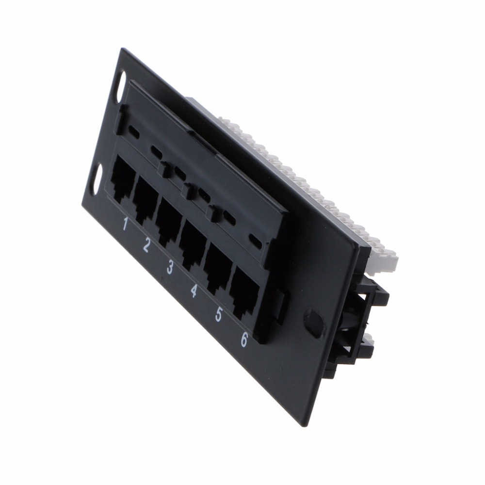 6 Port Ethernet LAN Network Adapter CAT5 CAT5E Patch Panel RJ45 Networking Wall Mount Rack Mount Bracket High Quality C26 2