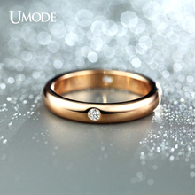 UMODE Famous Brand Jewelry 18K Rose Gold Plated Top Grade AAA Cubic Zirconia Diamond Wedding Bands Rings For Women Gift AJR0139A