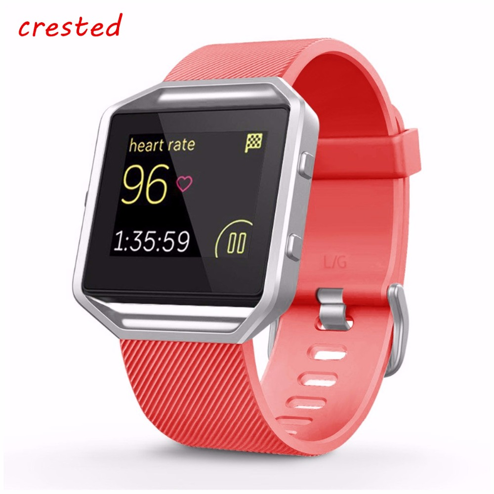 CRESTED sport band for fitbit blaze strap silicone watch wrist band bracelet replacement rubber watchband for fitbit smartwatch silicone rubber watchband for fitbit blaze smart fitness watch strap band quick release loop wrist belt bracelet black blue red