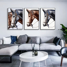 Nordic Modern Vintage Horse Head Wall Art Canvas Spray Painting Poster Picture Study Living Room Home Decor No Frame