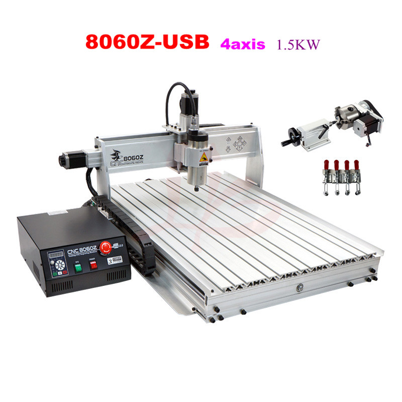 Mini cnc router 8060 1.5kw cnc machine with usb port four axis cutting machine,no tax to Russia 2016 newest cnc router 3040z dq usb port cnc cutting machine cnc engrave machine