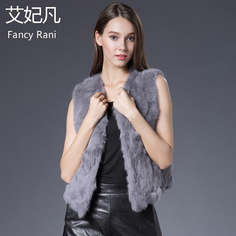 Valódi nyúl szőrme mellény tavaszi női kabát ujjatlan valódi szőrme mellény lányok vékony rövid stílusú dzsekik természetes nyúl szőrme mellény