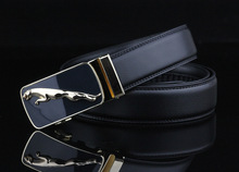2016 genuine leather kemer man solid riemen male black boss strap with jaguar belt buckle high quality
