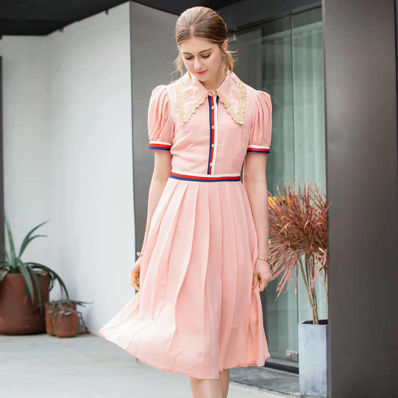 a669f88ec78fa New Fashion Summer Dress 2019 Women's Brand Designer Runway Dress Short  Sleeve Embroidery Collar Color Block Pink Casual Dresses