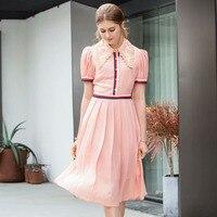 New Fashion Summer Dress 2019 Women's Brand Designer Runway Dress Short Sleeve Embroidery Collar Color Block Pink Casual Dresses