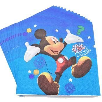 20pcs/set Mickey mouse Cartoon Theme Cartoon Kid Boys Girl favor Birthday Party Decoration Baby Shower Disposable Paper Napkins image