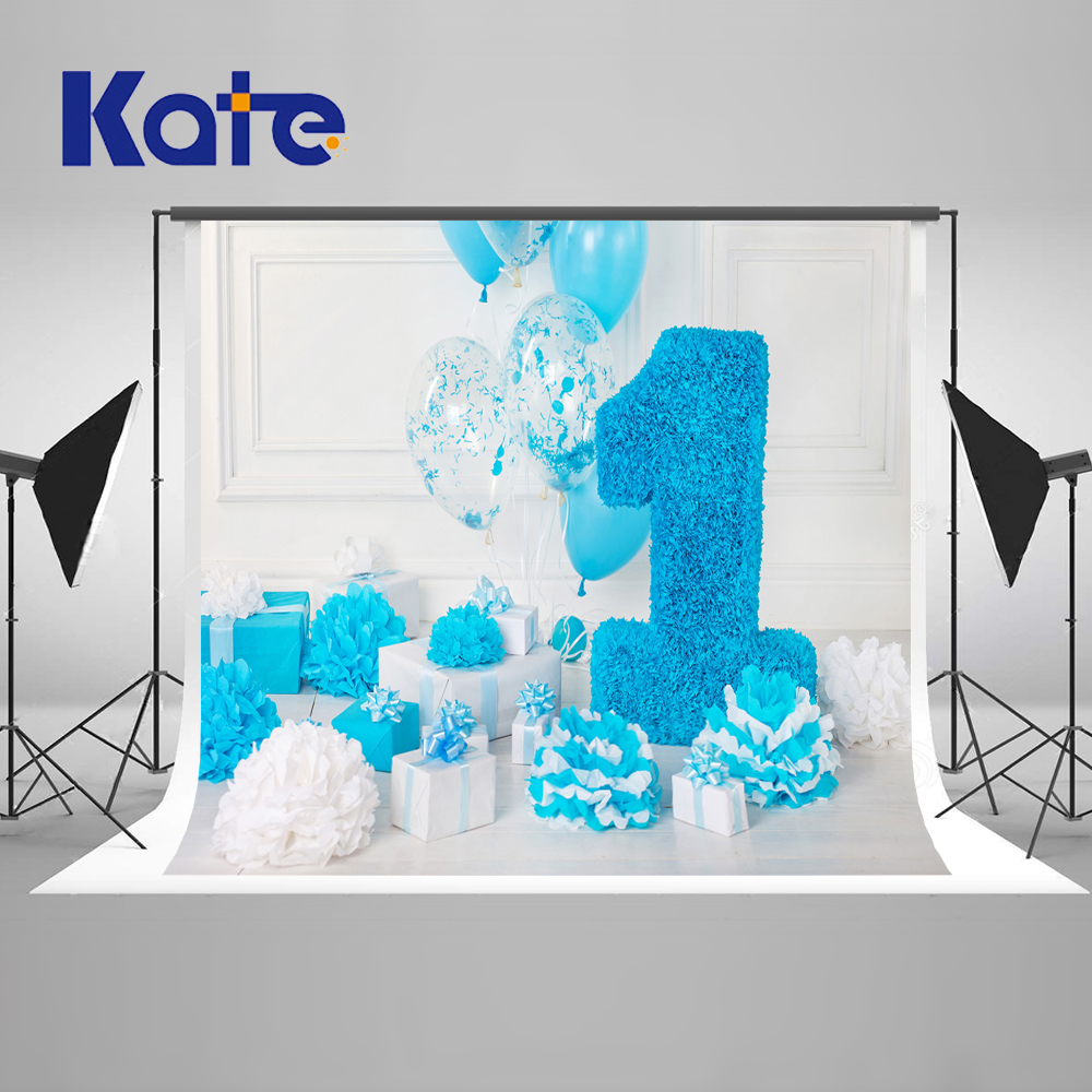 Kate Blue Happy Birthday Theme Photography Background For Newborn Baby 1st Photo Customized Princess Kids Photography Backdrops kate newborn birthday photography