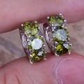 Фантастический Зеленый Перидот 925 Серебряные Серьги Обруча Huggie Для Женщин S0191