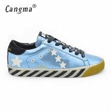 CANGMA Superstar Men Fashion Slides Shoes Autumn Genuine Leather Sapato Feminino Male Casual Blue Handmade Shoes Herenschoenen