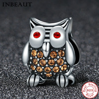 INBEAUT 2017 New 925 Sterling Silver Red Eye Female Owl Charm For Bridal Wedding Chain Bracelet