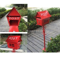130cm Rural Villa Security Stand Mail Box Newspaper Letterbox Garden Park Postbox Letter Box Outdoor Community Mailbox JHC 2113