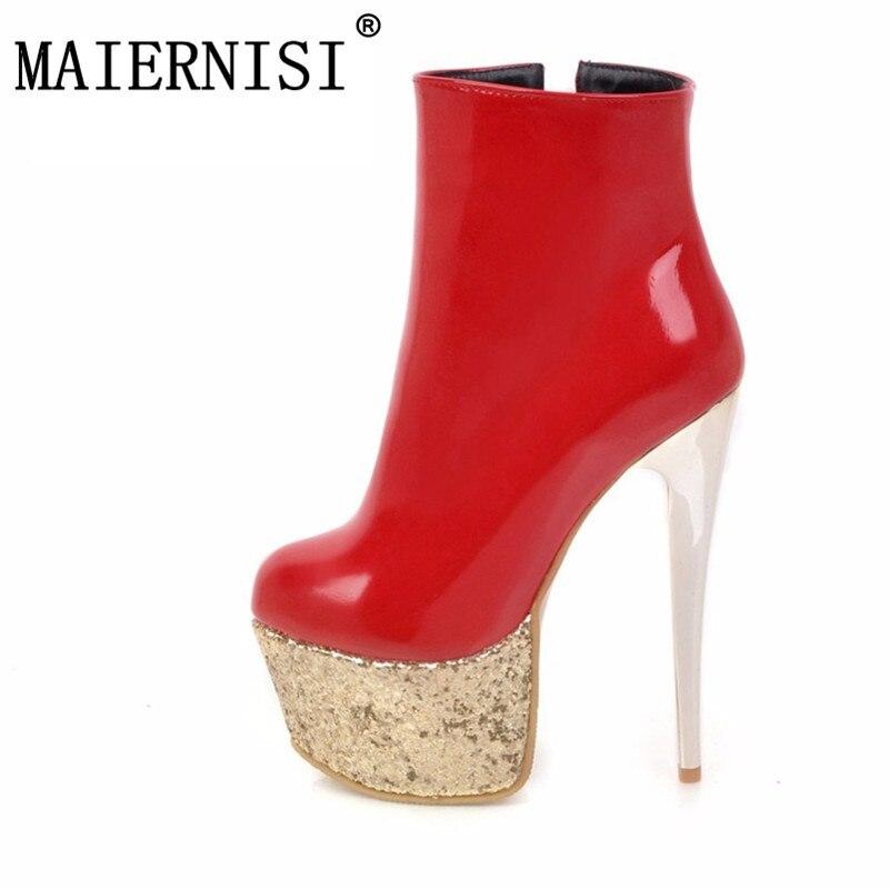 Nuovo Plus 34 Sexy A 2018 Caviglia Size Piattaforma bianco Bling Signore  Della Spillo Donna rosso Alta 16 Scarpe Modo Tacchi Cm Stivali Da Il Di ... d395ffbb0a9