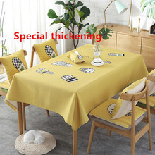 Nordic ins simple small fresh fabric cotton and linen tablecloth, rectangular waterproof dining table cloth coffee clot