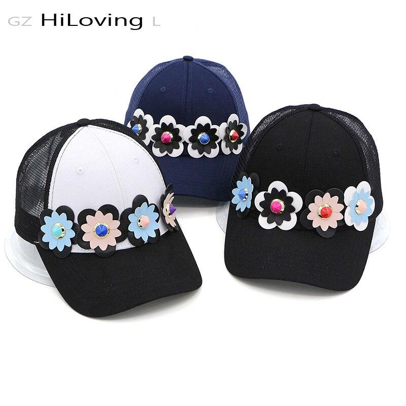 Prix pour GZHilovingL 2017 Femmes Coton Fleur Net Casquette de baseball Pu En Cuir Floral Casquettes Dames Filles De Mode Snapback Casquettes Pour L'été