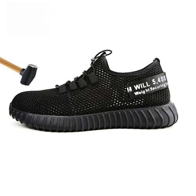 JUNSRM Homens Sapatos De Segurança de Verão Respirável Botas de biqueira de aço tampas de mulheres Anti-esmagamento Anti-perfuração de Malha dos homens de trabalho sapatos 36-46