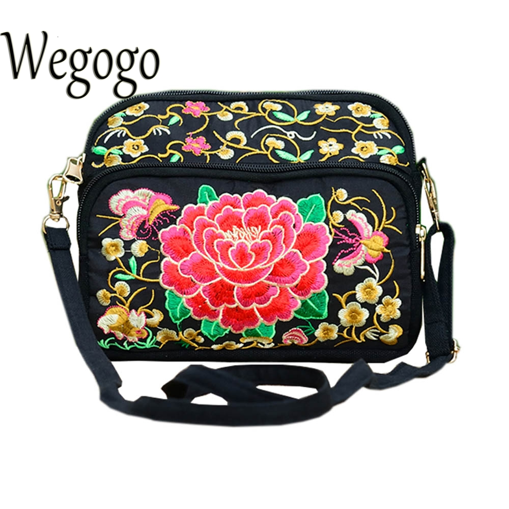 Women Embroidery Bag National Ethnic Vintage Cloth Double Face Embroidered Cluth Bag Three Layer Zipper Shoulder Messenger Bag цена