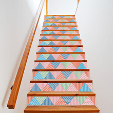 Korean Fresh Style Home Decoration Stair Sticker 3D Wall Stickers For Kids Rooms Stairs Creative Colorful Geometric Patterns
