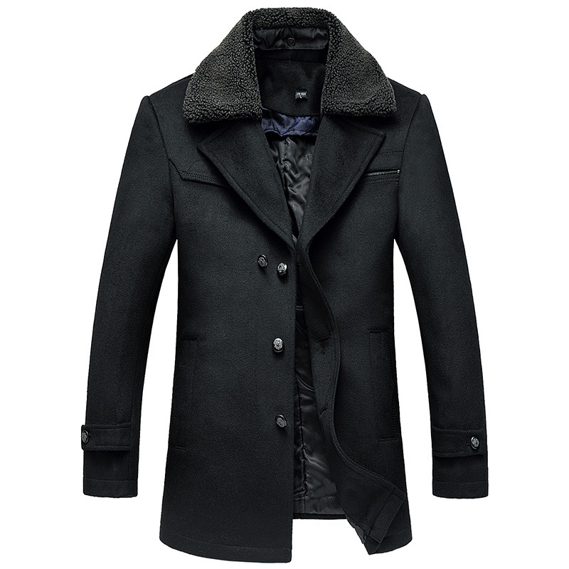 Male New 2019 Thick Woollen Business Casual Men's Coat Autumn Winter Overcoat Fashion Blends Brand Clothing MOOWNUC Splicing - 2
