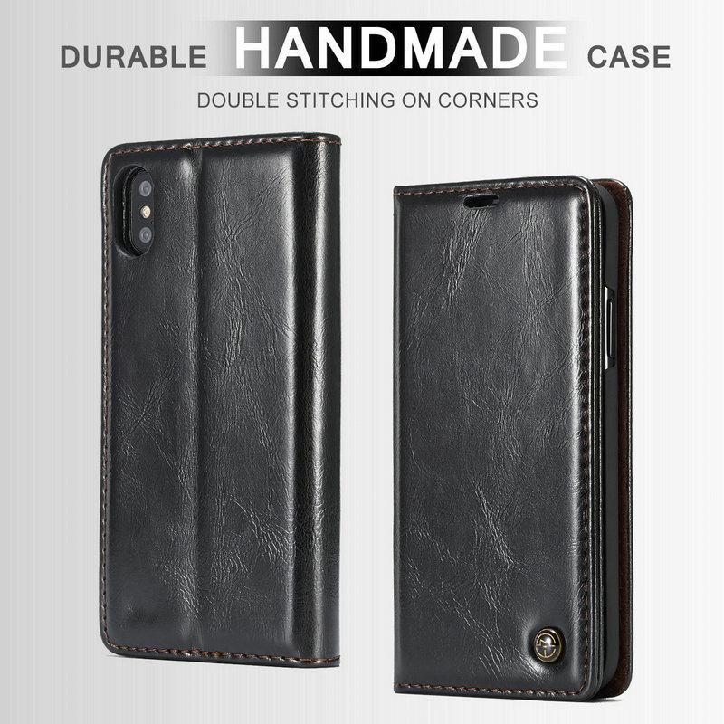 CaseMe carcasa Funda de cuero para iPhone XS Max XR 8X8 7 6 6 s más cartera de lujo Flip Stand casos iPhone 5 5S SE Durable cubierta hecha a mano