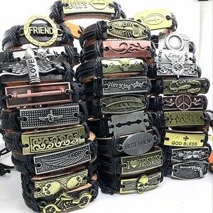 Image 1 - Bracelet en cuir véritable en alliage de cuivre, mosaïque, vente en gros, 50pcs, bijoux fait à la main, pour hommes et femmes
