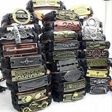 Groothandel Veel Bulk 50 stuks echte Manchet lederen Armband Mannen Vrouwen unisex mozaïek Koper legering Mix Stijlen Mode Handgemaakte Sieraden