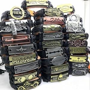 Image 1 - Wholesale Lots Bulk 50pcs genuine Cuff leather Bracelet Men Women unisex mosaic Copper alloy Mix Styles Fashion Handmade Jewelry