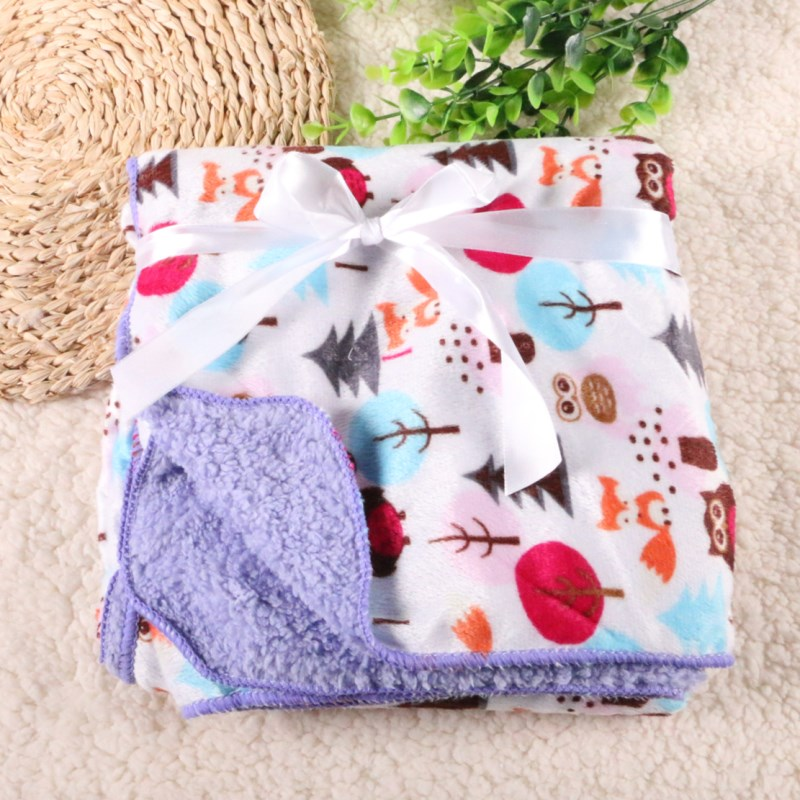 Free Shipping 2017 New Design Baby Blanket 76*100 Cm Children Warm Fleece Blanket on Bed Soft Plaid Throw Blanket Trq0003