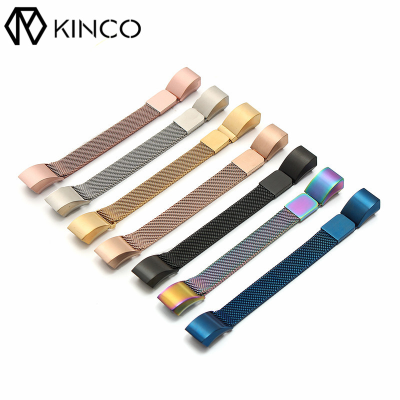 KINCO Stainless Steel Replacement Colors Soft Comfortable Straps Wristband Wrist Bands for Fitbit Alta HR Smart Watch Strap