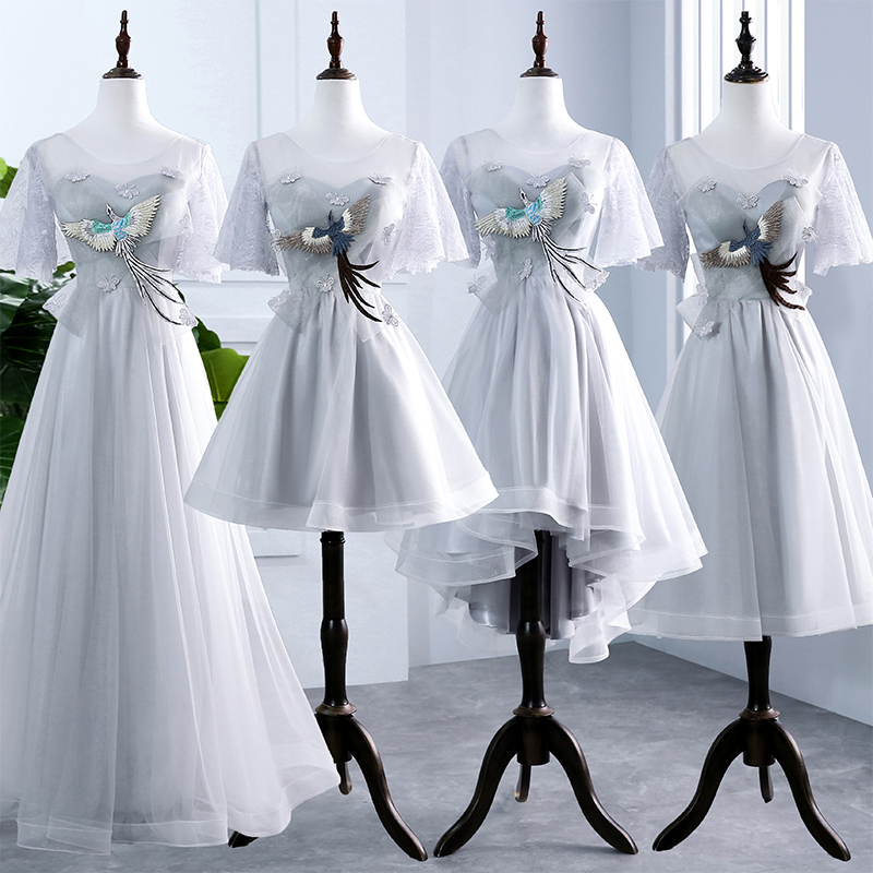 Bridesmaid     Dresses   2018 Grey Tulle Lace Short Sleeves Mixed Style Corset Back with Phoenix Decoration Bowknot Maid Of Honor Gown