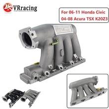 VR-алюминиевый впускной коллектор для 06-11 Honda Civic 04-08 Acura TSX K20Z3 серебристый черный VR-IM52