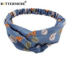 BUTTERMERE Hair Accessories For Women Leaf Print Headband Female Blue Retro Hair Band Twist Knot Elastic Headwear Boho Headwrap недорого