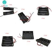 5 pcs 3 2 1 * AA * AA * 6 5 4 * AA * AA AA AA * caixa de bateria Suporte Da Bateria de Armazenamento Caixa de Tomada de Plástico 2/3/4/6/8 Seção com Fio leads