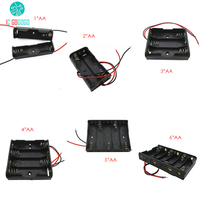 5pcs 1*AA 2*AA 3*AA 4*AA 5*AA 6*AA Battery Case Storage Battery Holder Box Socket Plastic 2/3/4/6/8 Section with Wire Leads