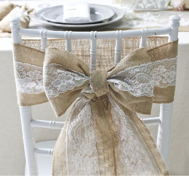 6 pcs/lot Hessian Jute Burlap Chair Sashes Jute Chair Tie Bow Rustic Wedding decor vintage wedding decoration centerpieces