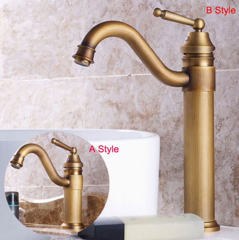 Basin Faucets Antique Brass Bathroom Sink Faucet Single Handle Swivel Hot Cold Mixer Water Tap Wxz001 basin faucet water tap bath 360 degree swivel antique bathroom faucet single handle sink tap mixer hot and cold sink water crane