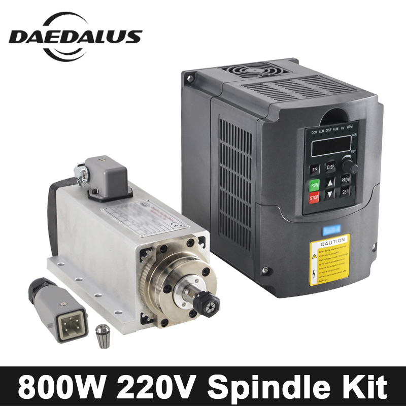 CNC Spindle Motor 800W 220V Air Cooled Spindle Motor With 4 Bearings Tools+1.5KW 220V VFD Inverter For Engraver Milling Machine цена