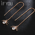 2017 New Hot Fashion Punk Gold Color Alloy Sexy Dangle Long Crystal Spider Earrings Jewelry Earrings for Women Brincos