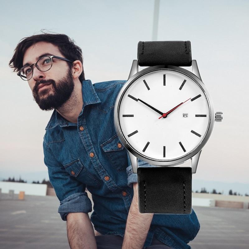 Męskie zegarki sportowe minimalistyczne zegarki męskie zegarki na rękę zegarek ze skórzanym paskiem erkek kol saati relogio masculino reloj hombre 2020 4