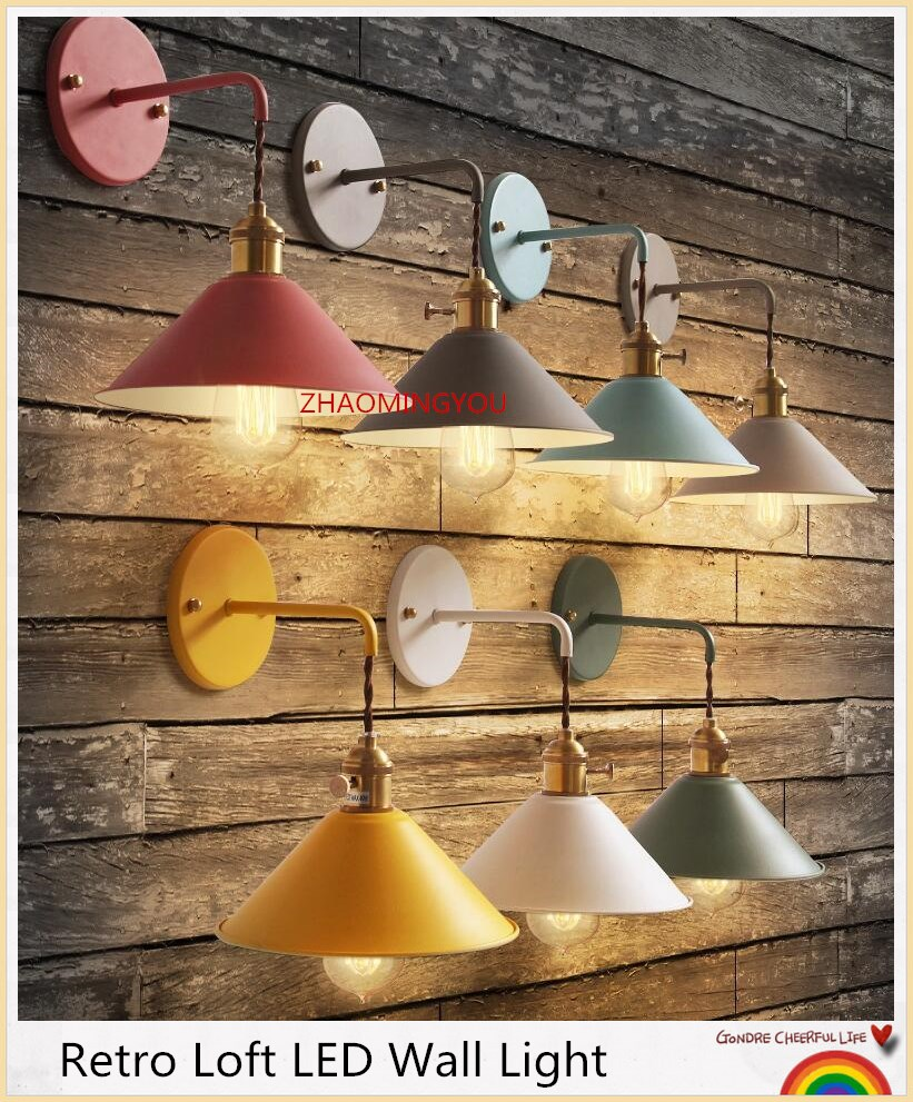 YOU Plated Industrial Wall Lamp Retro Loft LED Wall Light Lamparas De Pared Hallway Stairs Iron Wall Sconce Abajur Luminaria