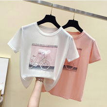 GGRIGHT Funny Diamonds Print T-shirts Women 2019 Summer Cotton O-neck Short Sleeve Tshirts White Pink Women Tees Top Harajuku