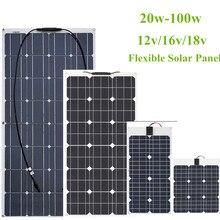 Гибкая солнечная панель 30 Вт/40 Вт/60 Вт/100 Вт 12 В/16 В/18 в ячейка солнечной энергии модуль батареи зарядное устройство панели для автомобиля/грузовика/мотоцикла