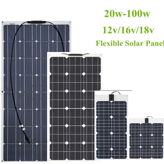 柔軟なソーラーパネル30ワット/40ワット/60ワット/100ワット12v/16v/18 12v太陽エネルギー携帯モジュールバッテリー充電器パネル車/トラック/オートバイ