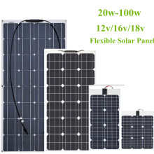 30W/40w/60W/80W/100W 12V/16V/18V Solar Energy cell Flexible Solar Panel Module Battery Charger Panels for Car/Truck/Motorcycle цена