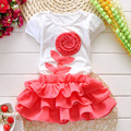 Summer kids popular T-shirt+skirt set 2 pieces children short sleeve flower clothes suit 4s/l
