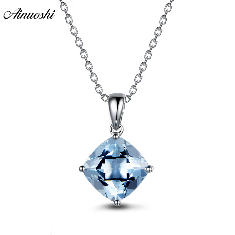 AINUOSHI 2ct Cushion Cut Genuine Sky Blue Topaz Pendant Necklace 925 Sterling Silver 45cm Cross Chain Fine Women Jewelry Gift